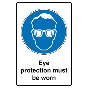 Gebotszeichen Schild | Gebotsschild · Eye protection must be worn
