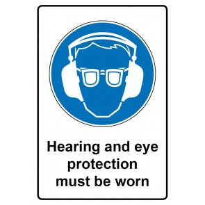 Gebotszeichen Aufkleber | Sticker · Hearing and eye protection must be worn