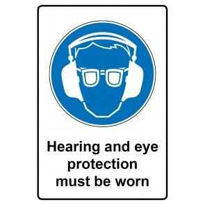 Gebotszeichen mit Text Hearing and eye protection must be worn · Magnetschild - Magnetfolie
