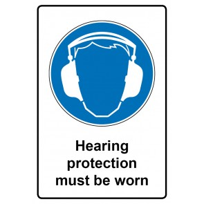 Gebotszeichen Aufkleber | Sticker · Hearing protection must be worn