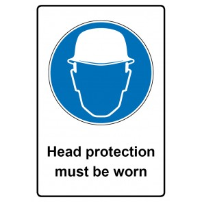 Gebotszeichen Schild | Gebotsschild · Head protection must be worn