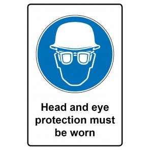 Gebotszeichen Aufkleber | Sticker · Head and eye protection must be worn