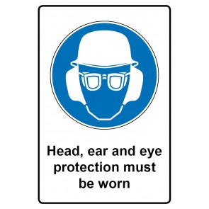Gebotszeichen Aufkleber | Sticker · Head, ear and eye protection must be worn