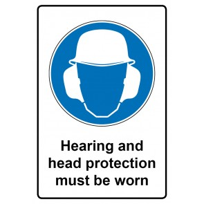 Gebotszeichen Aufkleber | Sticker · Hearing and head protection must be worn