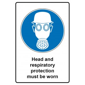Gebotszeichen Schild | Gebotsschild · Head and respiratory protection must be worn