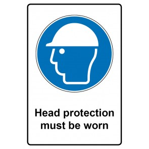 Gebotszeichen Aufkleber | Sticker · Head protection must be worn