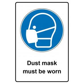 Gebotszeichen mit Text Dust mask must be worn · Magnetschild - Magnetfolie
