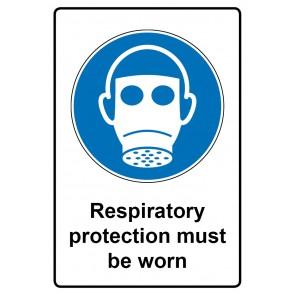 Gebotszeichen mit Text Respiratory protection must be worn · Magnetschild - Magnetfolie