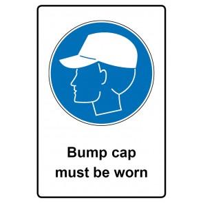Gebotszeichen mit Text Bump cap must be worn · Magnetschild - Magnetfolie