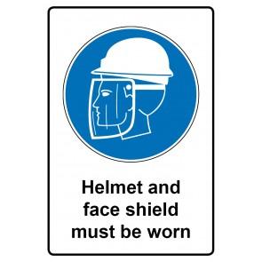 Gebotszeichen mit Text Helmet and face shield must be worn · Magnetschild - Magnetfolie