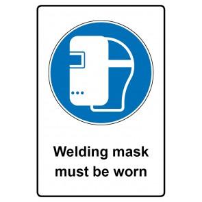 Gebotszeichen mit Text Welding mask must be worn · Magnetschild - Magnetfolie