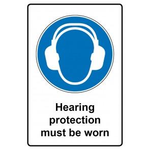 Gebotszeichen mit Text Hearing protection must be worn · Magnetschild - Magnetfolie
