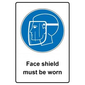 Gebotszeichen mit Text Face shield must be worn · Magnetschild - Magnetfolie
