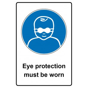 Gebotszeichen mit Text Eye protection must be worn · Magnetschild - Magnetfolie