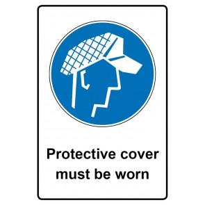 Gebotszeichen mit Text Protective cover must be worn · Magnetschild - Magnetfolie
