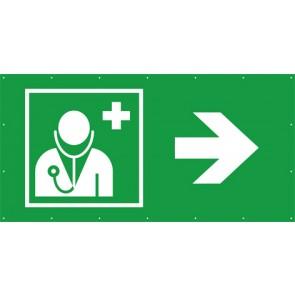Rettungszeichen Banner · Plane Arzt, Ärztliche Hilfe rechts