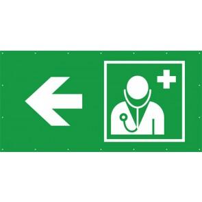 Rettungszeichen Banner · Plane Arzt, Ärztliche Hilfe links