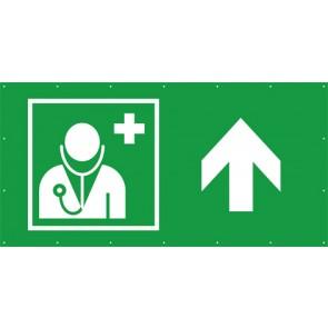 Rettungszeichen Banner · Plane Arzt, Ärztliche Hilfe geradeaus