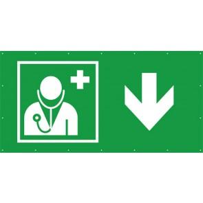 Rettungszeichen Banner · Plane Arzt, Ärztliche Hilfe hier - zurück