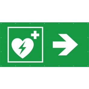 Rettungszeichen Banner · Plane Defibrillator rechts