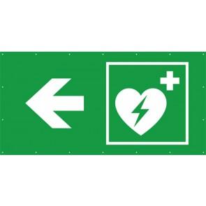 Rettungszeichen Banner · Plane Defibrillator links
