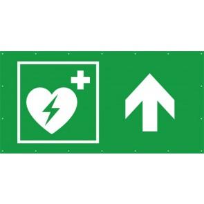 Rettungszeichen Banner · Plane Defibrillator geradeaus