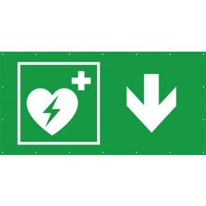 Rettungszeichen Banner · Plane Defibrillator hier - zurück