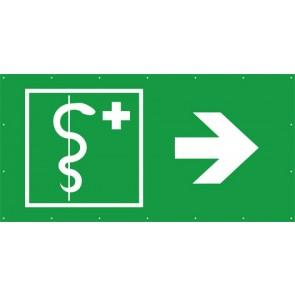 Rettungszeichen Banner · Plane ärztliche Hilfe, Arzt rechts