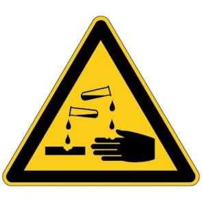 Fußbodenaufkleber Warnzeichen Warnung vor ätzenden Stoffen