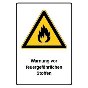 Warnzeichen mit Text Warnung vor feuergefährlichen Stoffen · MAGNETSCHILD