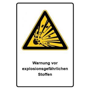 Warnzeichen mit Text Warnung vor explosionsgefährlichen Stoffen · MAGNETSCHILD