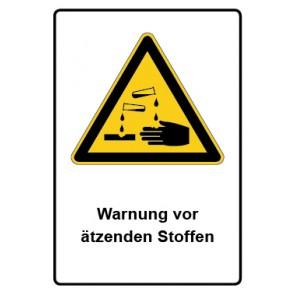 Warnzeichen mit Text Warnung vor ätzenden Stoffen · MAGNETSCHILD