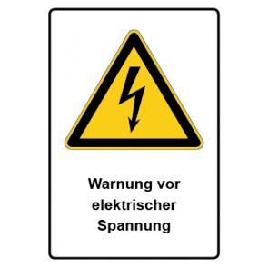 Warnzeichen mit Text Warnung vor elektrischer Spannung · MAGNETSCHILD