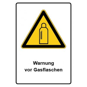 Warnzeichen mit Text Warnung vor Gasflaschen · MAGNETSCHILD