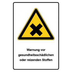 Warnzeichen mit Text Warnung vor gesundheitsschädlichen oder reizenden Stoffen · MAGNETSCHILD