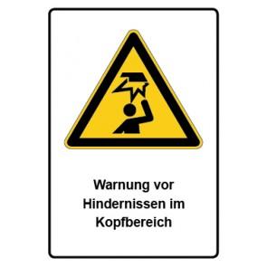 Warnzeichen mit Text Warnung vor Hindernissen im Kopfbereich · MAGNETSCHILD