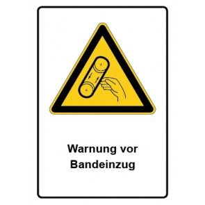 Warnzeichen mit Text Warnung vor Bandeinzug · MAGNETSCHILD
