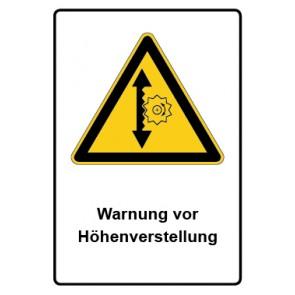 Warnzeichen mit Text Warnung vor Höhenverstellung · MAGNETSCHILD