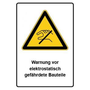 Warnzeichen mit Text Warnung vor elektrostatisch gefährdete Bauteile · MAGNETSCHILD