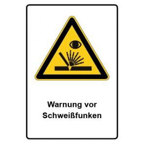 Warnzeichen mit Text Warnung vor Schweißfunken · MAGNETSCHILD