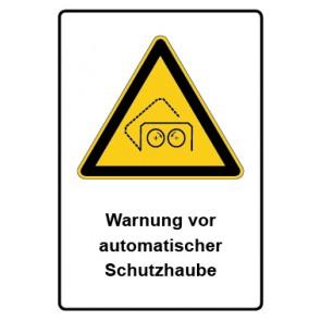 Warnzeichen mit Text Warnung vor automatischer Schutzhaube · MAGNETSCHILD