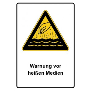 Warnzeichen mit Text Warnung vor heißen Medien · MAGNETSCHILD