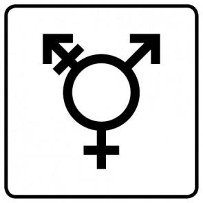 WC Toiletten Aufkleber | Symbol Transgender · weiß