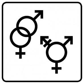 WC Toiletten Aufkleber | Symbol Herren · Damen · Transgender · weiß