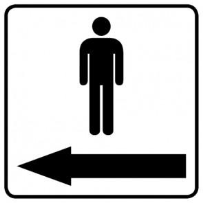 WC Toiletten Aufkleber | Piktogramm Herren Pfeil links · weiß