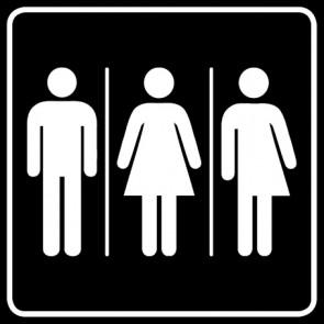 WC Toiletten Aufkleber | Herren · Damen · Transgender · schwarz