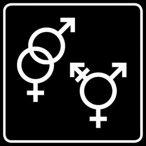 WC Toiletten Aufkleber | Symbol Herren · Damen · Transgender · schwarz