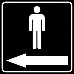 WC Toiletten Aufkleber | Piktogramm Herren Pfeil links · schwarz