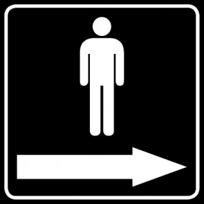WC Toiletten Aufkleber | Piktogramm Herren Pfeil rechts · schwarz