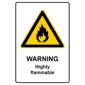 Warnzeichen mit Text Warning · Highly flammable · Magnetschild